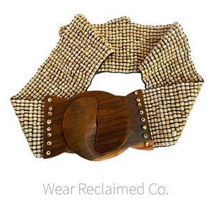 Francesca's Brown and Cream Beaded Elastic Belt